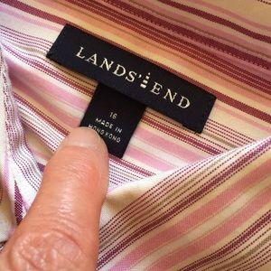 Lands' End Tops - Lands End pink stripe blouse